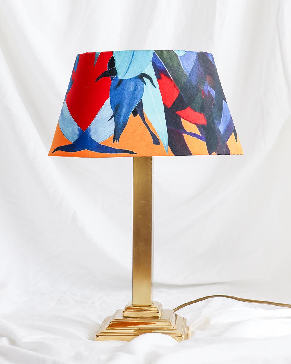 je suis flore, lamp, lampen, lampenkap, jungle lampenkap, zijde lampenkap, zijde jungle lampenkap, gouden lamp