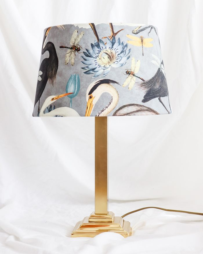 je suis flore, lamp, lampen, lampenkap, vogels, vogel print, aztec lampenkap, gouden lamp