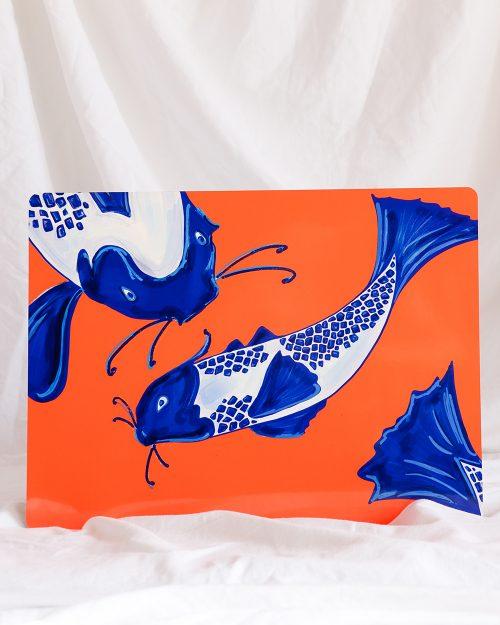 je suis flore, placemats, placemat, placemat koi fish
