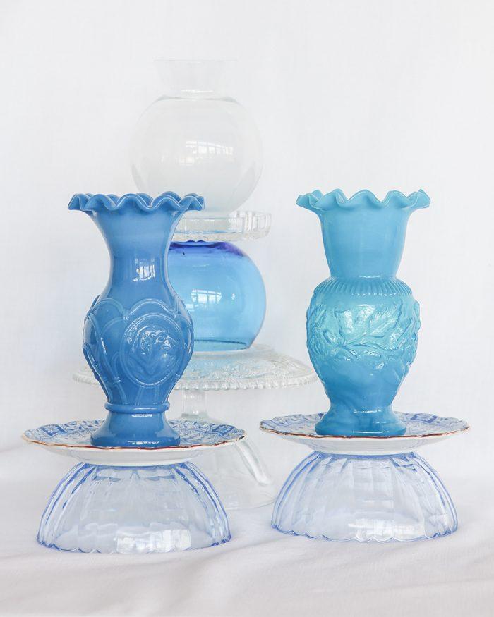 je suis flore, glass art, opaline glas, opaline, glass art blue sky, vaas, turquoise sea, glass art turquoise sea, glass art dim, dim