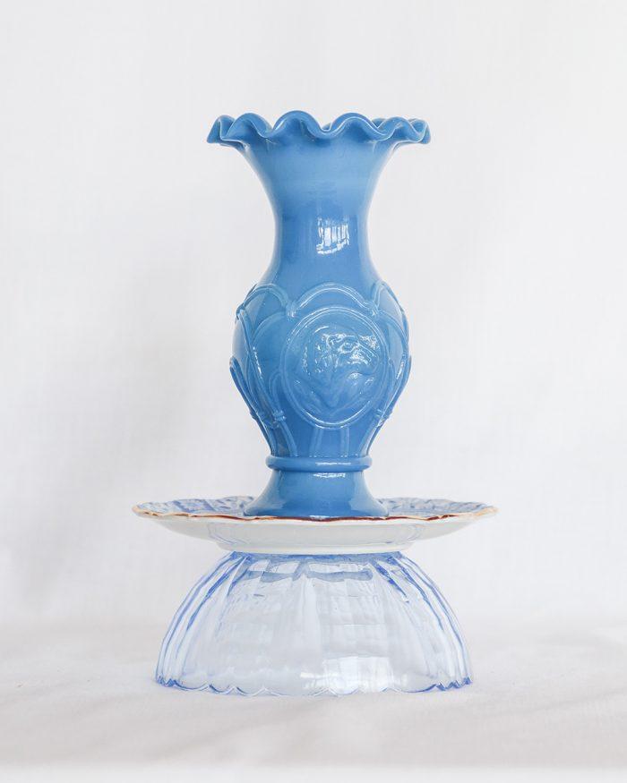 je suis flore, glass art, opaline glas, opaline, glass art blue sky, vaas