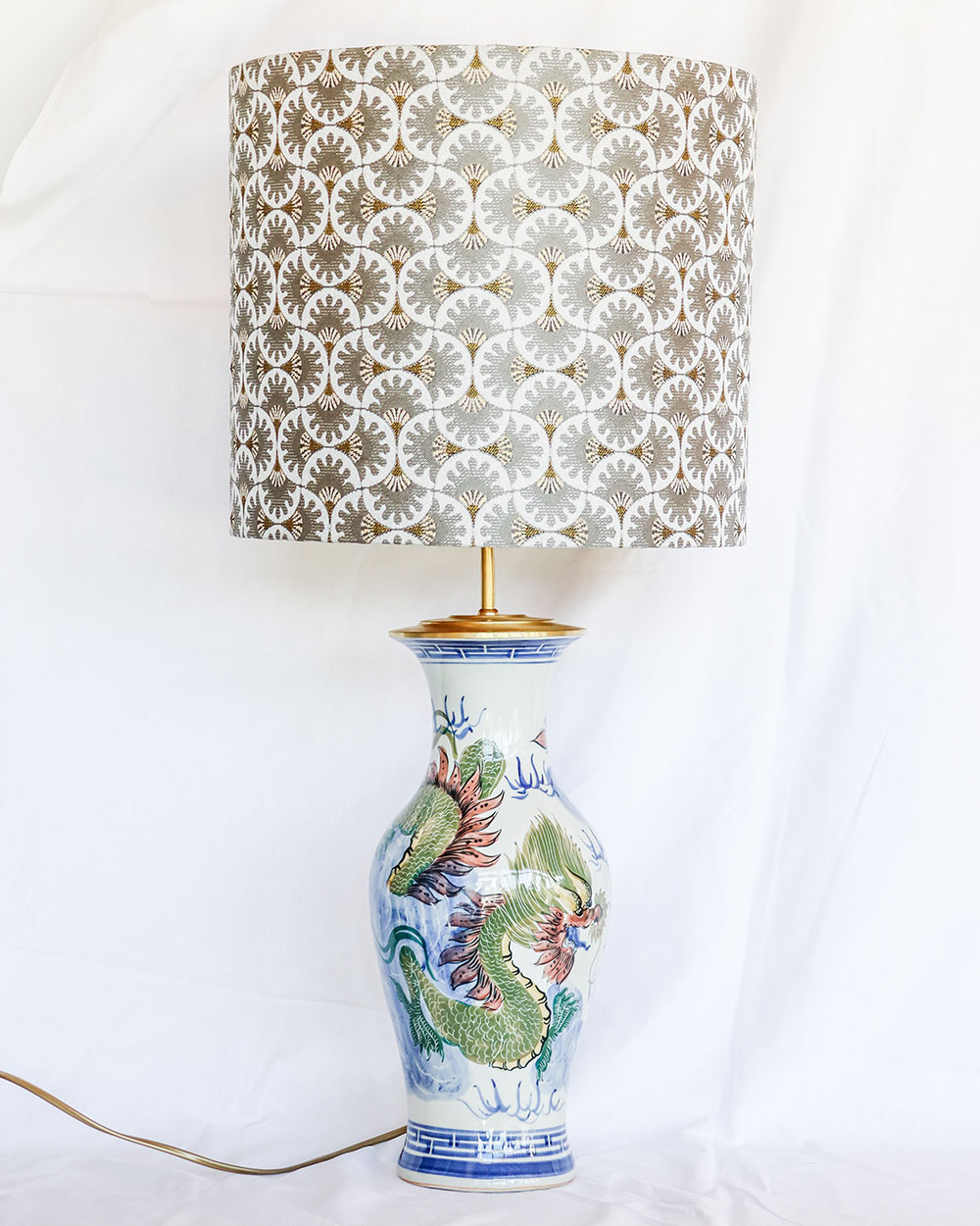 je suis flore, lampen, lampenkap, lampenkappen, lamp, jacquard, golden confetti, dragons lamp