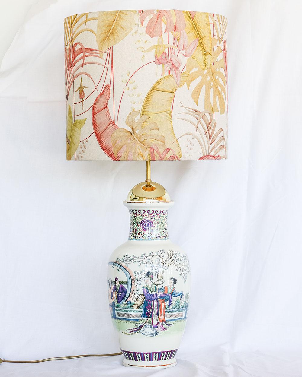 je suis flore, lampen, lampenkap, lampenkappen, lamp, jacquard, pink parrots, oosterse lamp